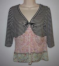 Etcetera Floral & Stripe Knit Top Size M 3/4 Sleeve Stretch Black White Red Bow