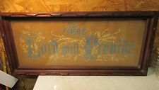"""Antique Victorian Needlepoint On Paper """"The Lord Will Provide"""" Walnut Frame"""