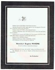 Avis de Décès Eugène Rivière - Greffier de Paix Saint Jean de Losne - 1938