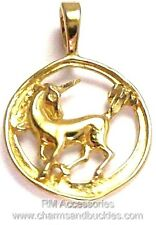 Unicorn Charm Circular Pendant EP Gold Plated Jewelry with a Lifetime Guarantee!