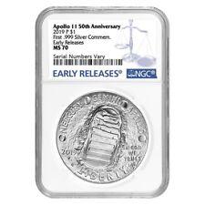 2019 P Apollo 11 50th Anniversary Silver Dollar Comm. Ngc Ms 70 Er