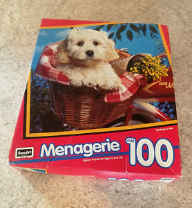 1993 Menagerie Puppy In Basket 100 Piece Jigsaw Puzzle - RoseArt