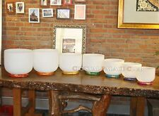 Set of 7 Frosted Quartz Crystal Singing Bowls 7''-12'' (Cushion Ring Included)