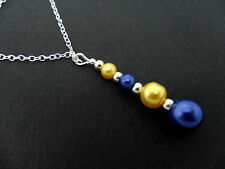 A BLUE & YELLOW GLASS PEARL  SILVER PLATED PENDANT NECKLACE. NEW.