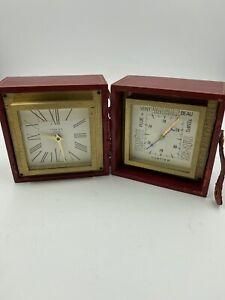 Cartier Desk Clock & Barometer Red Leather Case Jaeger LeCoultre Movement 1960's