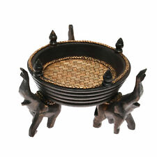 Victorious Elephant Trio Artisan Carved Wood Round Tray