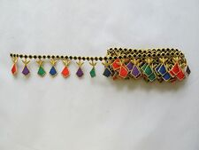 #2212 Gold,Back Trim Fringe Red,Purple,Green Ruby Embroidery Applique Patch/yard