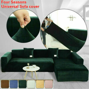 Couch Velvet Stretch Elastic Sofa Protection Covers Sectional Corner L ShapeSJKB