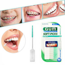 GUM Toothpicks Soft Interdental Brush SUNSTAR 80 Picks With Travel Case