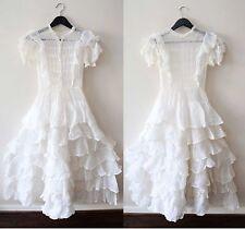 Vintage 1930s 1940s Antique Edwardian Victorian Ruffle Sheer Wedding Dress Xs