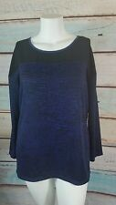 CJ Banks Blue Navy Black Shimmer  Cardigan Sweater Pullover Size XL