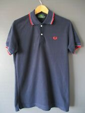 """VTG 80s FRED PERRY POLO SHIRT (M-38"""") GREEN-LABEL DARK-BLUE 100% COTTON RED-TRIM"""