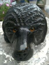 ANTIQUE BLACK FOREST CARVED BEAR/DOG FLIP TOP INKWELL WITH GLASS EYES