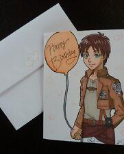 Anime Birthday Card with Envelope COMMISSION fanart manga art handmade custom