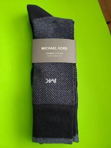 Michael Kors Crew Mens Dress Socks 3 Pair Pack Size 7-12 Gray Combed Cotton