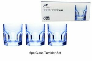 HEAVY BASE WIDE MOUTH, Set of 6, Marine Blue 200ml Retro Glass Tumbler Glass