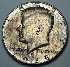 GORGEOUS CHOICE BU 1968 D USA SILVER KENNEDY HALF DOLLAR COLOR TONED UNC (DR)