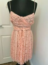 Dolce & Gabbana D&G SIlk Line Pink Lace Baby Doll Plunge Dress belted IT40UK8US4
