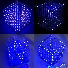 NUOVO 8x8x8 LED luce cubo 3d QUADRATO LED BLU KIT FAI DA TE ELETTRONICA