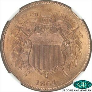1864  Large Motto Two Cent NGC and CAC MS65RD  Brilliant Frosty Red