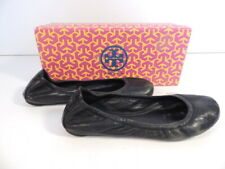 Tory Burch Eddie Lamb Leather Ballet Flat Women Shoes 12108666 Black Size 7.5