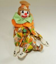 Vintage Clown Shelf Sitter Fabric Print Quilt Pattern Orange Green 18 in.