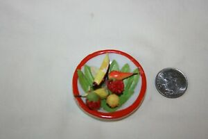 Miniature Dollhouse Vintage 50s Ceramic Plate/Fruit West Germany 1:12 NR