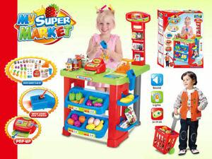 Childrens Kids Pretend Role Play Big Supermarket Shop Toy Set Trolley & Food UK