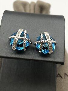 David Yurman Sterling Silver Cable Wrap Blue Topaz & Diamonds Earrings