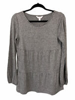 Lauren Conrad LC Sweater Top Gray Long Sleeve Blouse Knit Women's Size Small