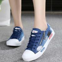 Womens Casual Sneakers Denim Canvas Breathable Lace Up Zippers Shoes Flats New