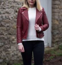 Zara Genuine Leather Burgundy/red Leather Jacket. Size S. 2017. Bloggers Fav