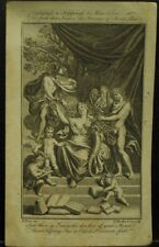 antique engraving print Bernard Picart 1700s Mercury woman nudes children books