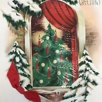 Vintage Mid Century Christmas Greeting Card Tree In Snowy Window Candles Red Bow