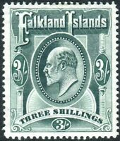FALKLAND ISLANDS-1904-12 3/- Green.  A lightly mounted mint example Sg 49