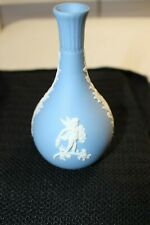 Wedgwood England Blue Jasperware 5 inch Cupid Laurel Leaf Vase