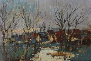 Kleines Ölgemälde 9x13 Landschaft Dorf impressionistisch um 1920
