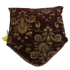 Throw Pillow Faux Leather, Fabric, Rope with decorative flap