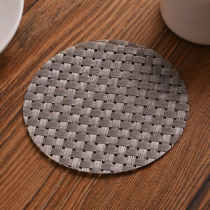 6x Weaved Non-slip Placemat Office Home Dinning Table Desk Round Mat&PlacingPadk