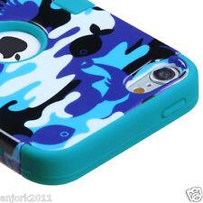 iPod Touch 5 Hybrid T Armor Snap-On Hard Case Skin Cover Aqua Camo