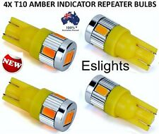 4X T10 12V W5W AMBER INDICATOR REPEATER LED CAR TAIL LIGHTS TURN SIGNAL BULB