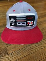 2016 Offical Nintendo NES Video Game Controller Gamer Snapback Hat Grey/Red Cap