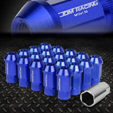 JDM OPEN-END ALUMINUM BLUE WHEEL LUG NUTS SET+ADAPTER M12X1.5 25MMx44MM TALL