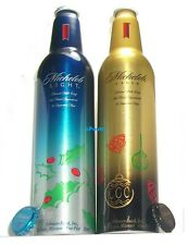 2005 MICHELOB HOLLY HOLIDAY BLUE LIGHT+GOLD BEER SET CHRISTMAS ALUMINUM BOTTLES