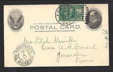 "FRUITVALE,CALIFORNIA GPC 1904 to ""JERUSALEM, SYRIA"" with Receiving Cancel. RARE!"