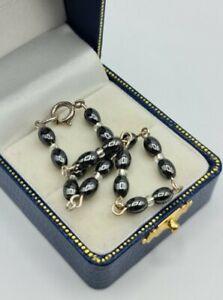 Hematite oblong beaded bracelet 925 silver TESTED