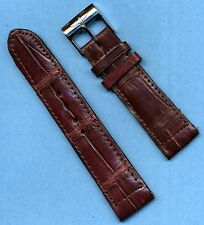 Breitling Steel Buckle & 22mm Brown Handcrafted Genuine Crocodile Strap Band