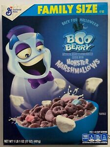 NEW GENERAL MILLS BOO BERRY CEREAL + MONSTER MARSHMALLOWS 17 OZ BOX HALLOWEEN