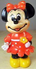 Vintage Minnie Mouse Plastic Coin Bank with Plug Walt Disney Productions Korea