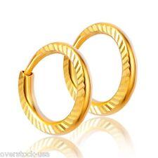 SMART Pure 24K Yellow Gold Hoop 9mm Earrings / Carved Hoop Earrings 1g